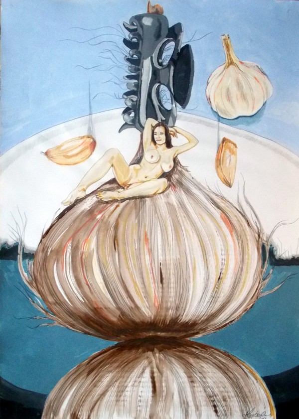 The onion maiden and her hair by Lazaro Hurtado