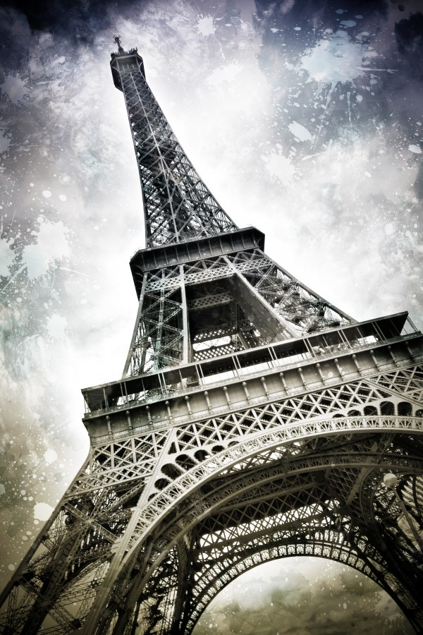 Modern-Art PARIS Eiffel Tower Splashes Canvas Print