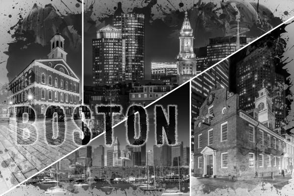 BOSTON Urban Collage No. 1 Canvas Print
