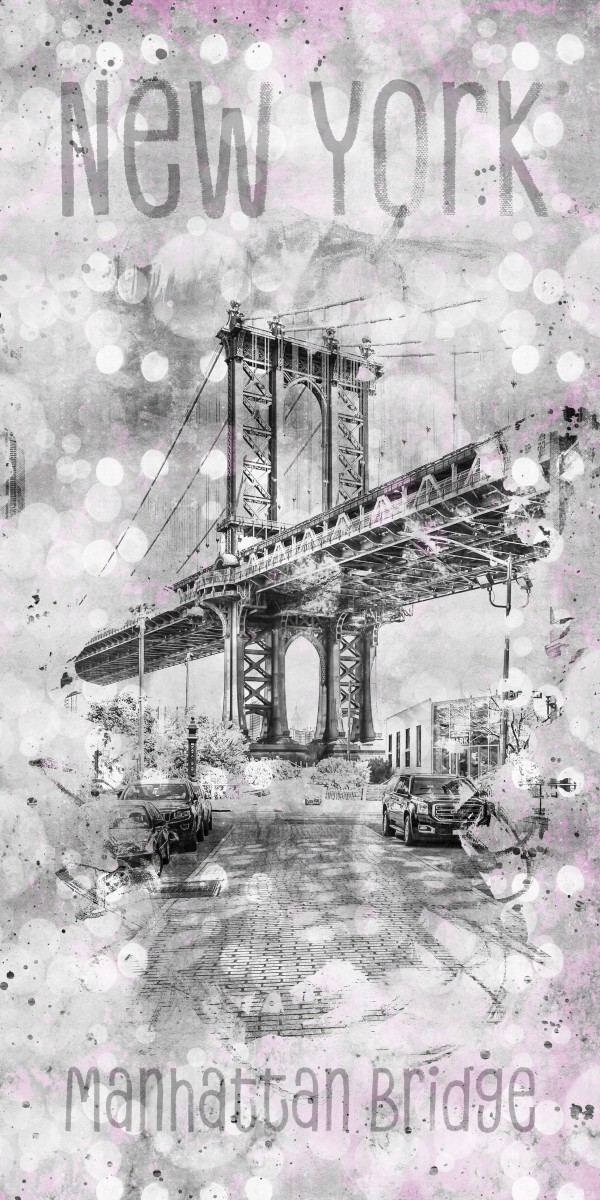 Graphic Art NEW YORK CITY Manhattan Bridge Canvas Print