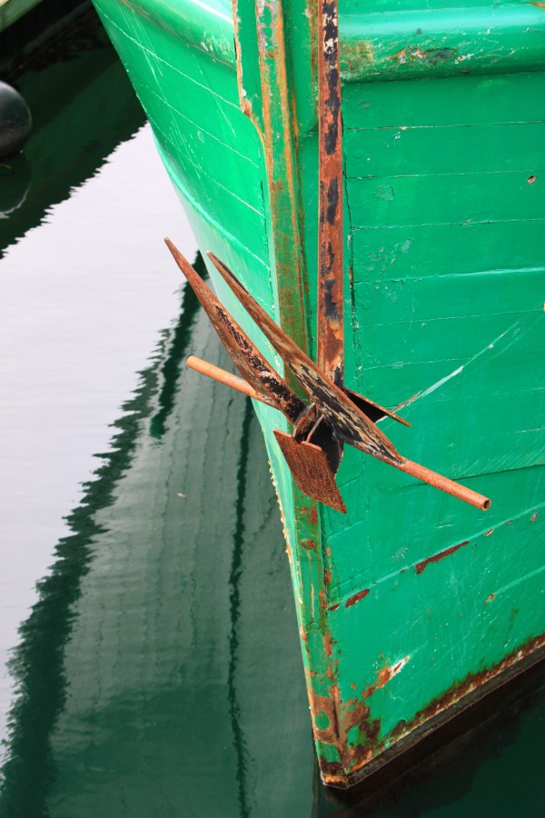 Green Fishing Boat and Anchor In Harbour by Mike Gould Photoscapes