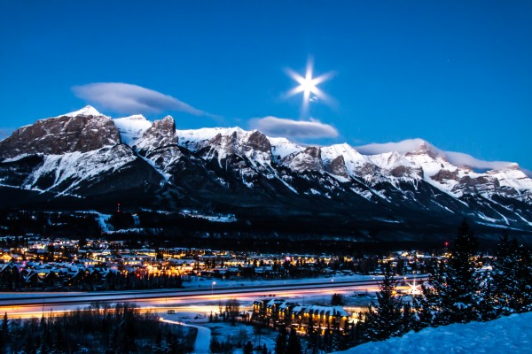 Canmore Morning Moon Over Rundle Mountain by Mike Gould Photoscapes
