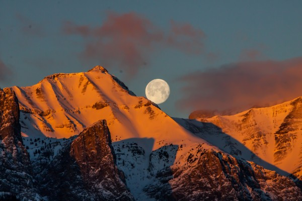 Super Moon Setting Behind Rundle Mountain by Mike Gould Photoscapes