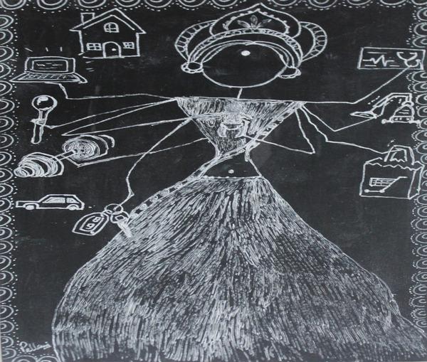Warli Art Depicting multitask by Pallavi Sharma