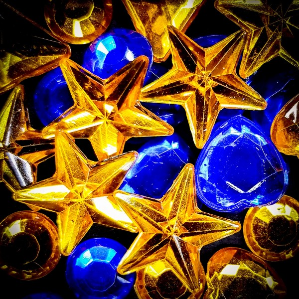 Blue and Gold Plastic Jewels by Richard Krol