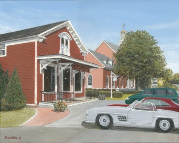 Town Hall and Store - Newtown Scenes 16X20  by Rick Kuhn