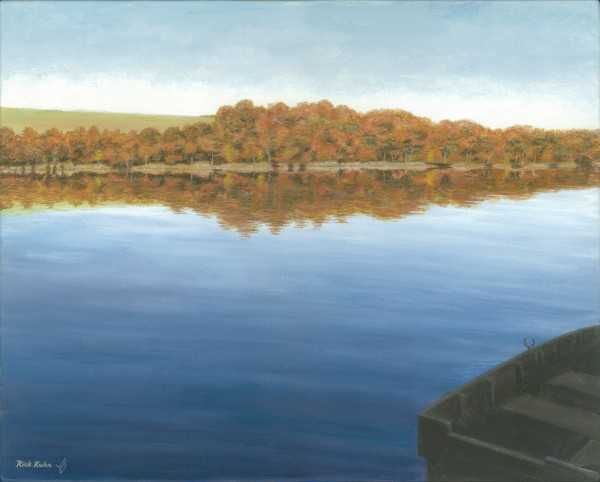 Rowboat on Taunton Lake - Newtown Scenes 16X20 by Rick Kuhn