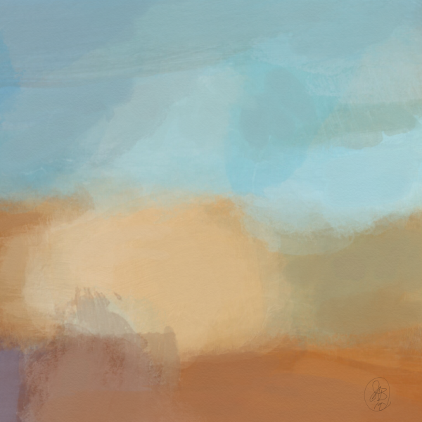 Turquoise and Copper Landscape Digital Download