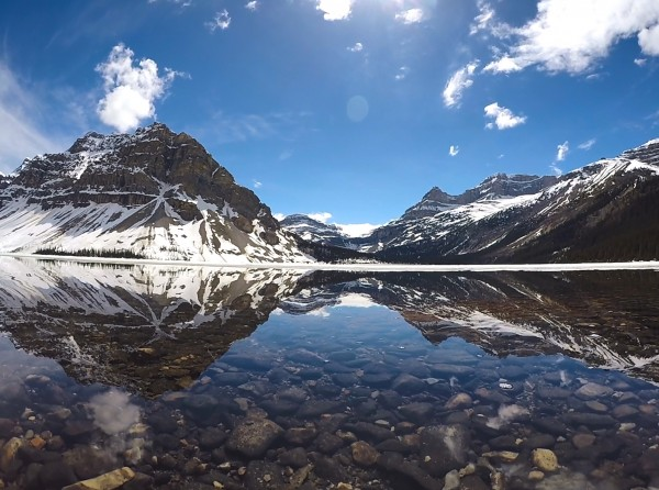 Bow Lake w Underwater Rocks and Reflection by Creative Endeavors - Steven Oscherwitz