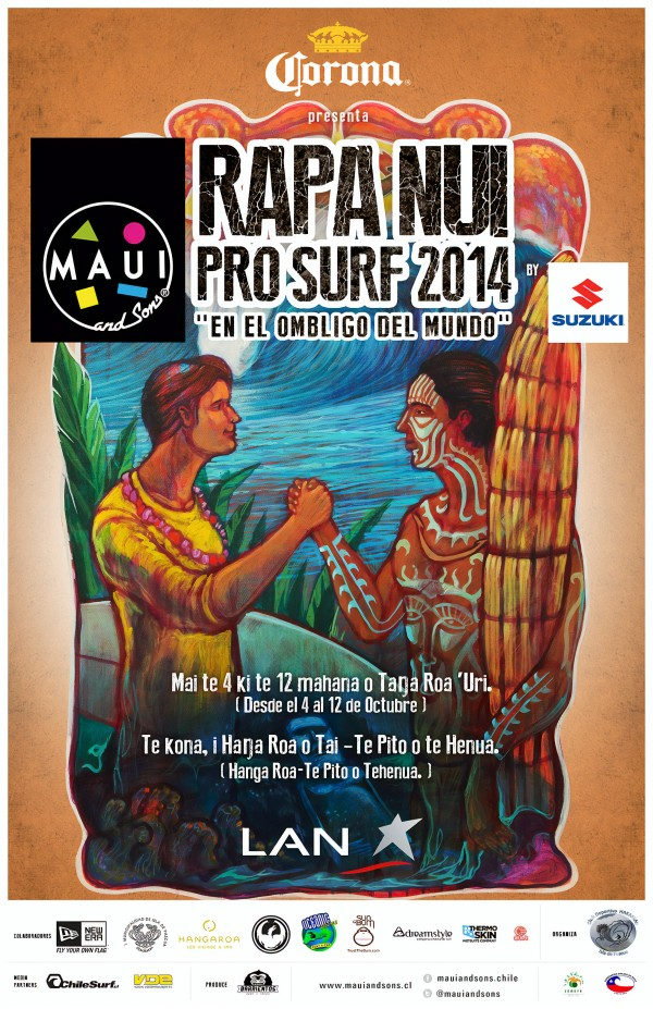 2014 RAPU NUI PRO Surfing Competition Print by Surf Posters