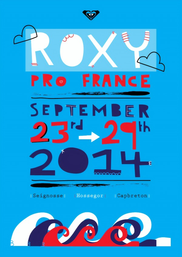 2014 ROXY PRO FRANCE Surfing Competition Poster by Surf Posters