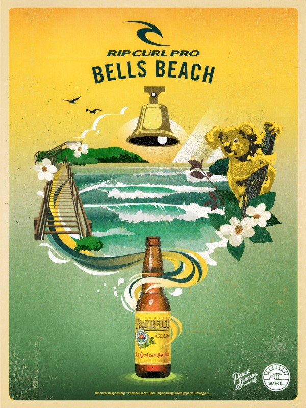 2016 RIP CURL PRO BELLS BEACH Surfing Competition Print by Surf Posters