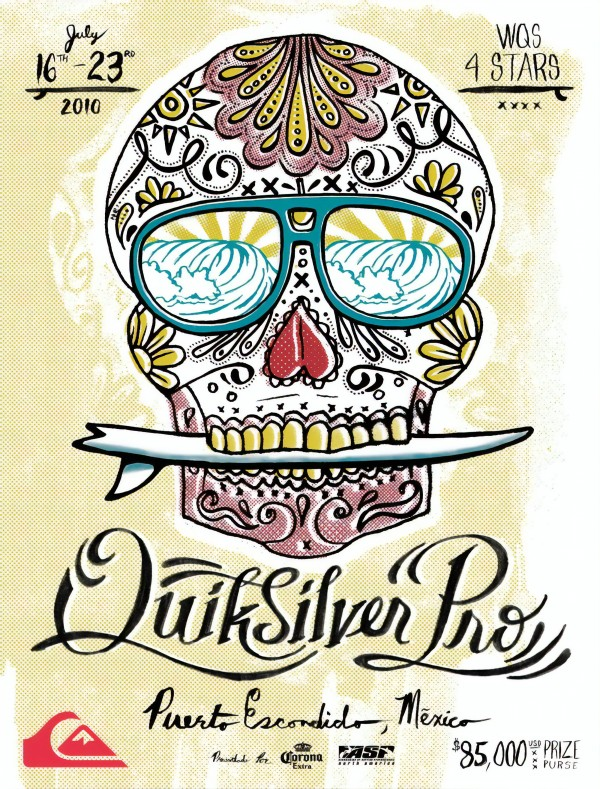 2010 QUIKSILVER PRO Puerto Escondido Mexico Surfing Competition Print by Surf Posters