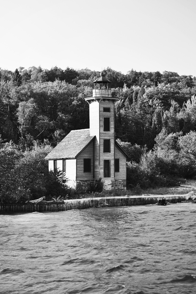 Grand Island Light house BW by Photo Art Unlimited
