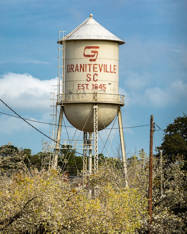 Graniteville Water Tower over Dogwoods 5802 by @ThePhotourist