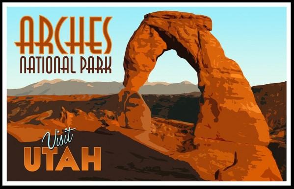 Visit Utah Vintage Tourism Poster For Arches National Park Canvas