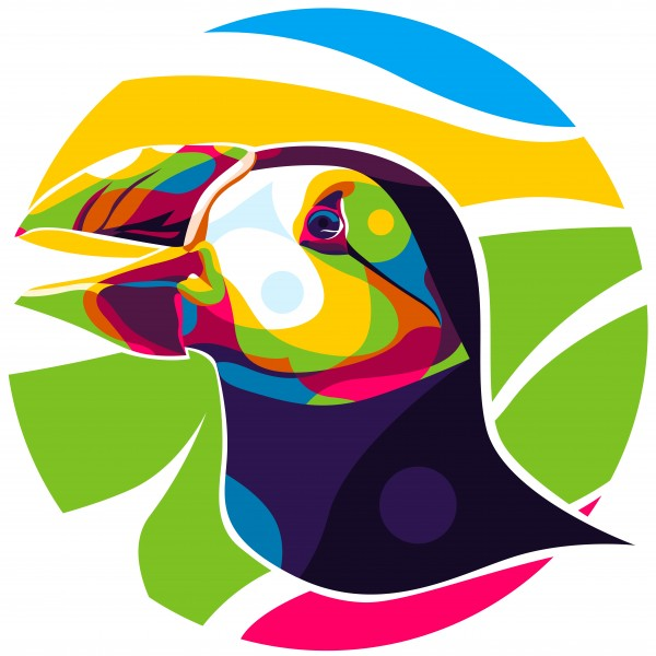 The Colorful Puffin Head by wpaprint