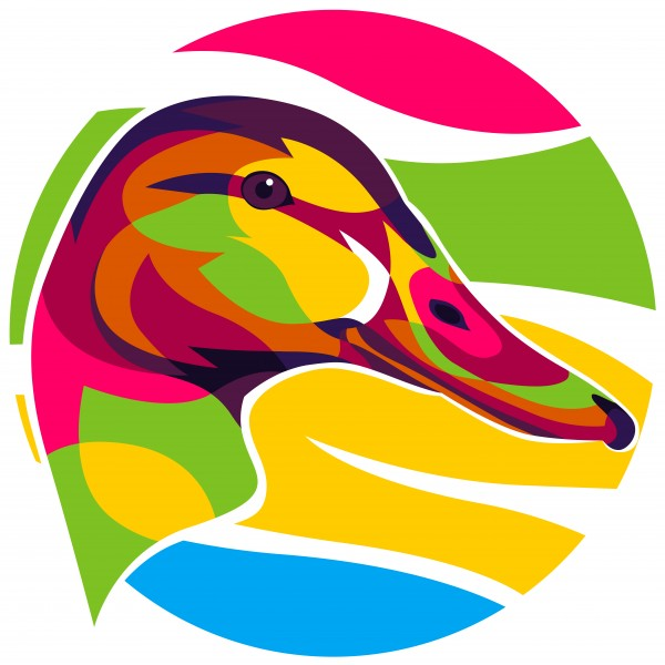 Colorful Duck Head by wpaprint