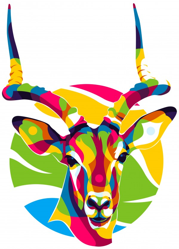 The Colorful Deer Head by wpaprint