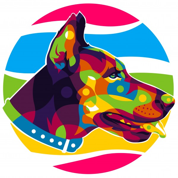 The Colorful Police Dog by wpaprint