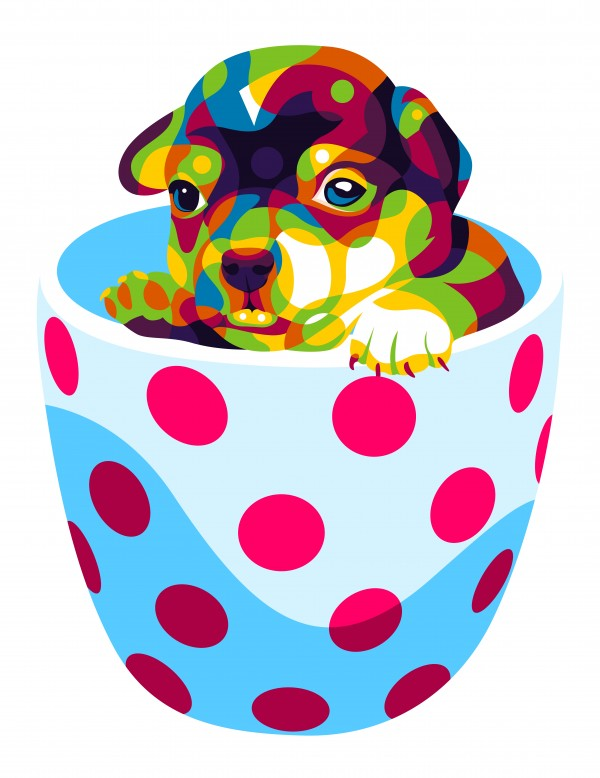Little Puppy in Cup by wpaprint