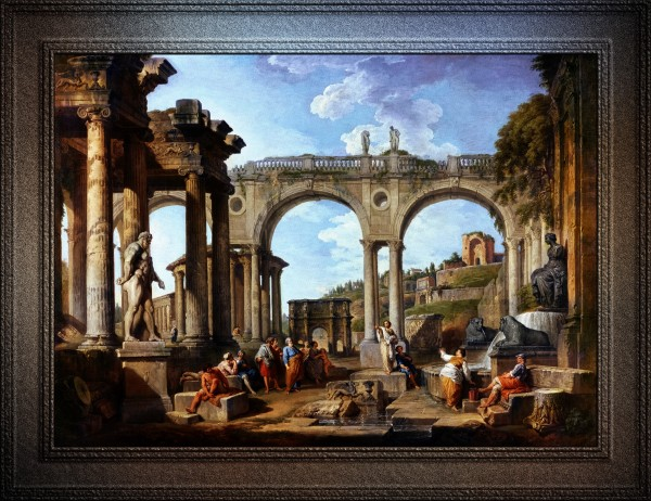 A Capriccio Of Roman Ruins and the Arch of Constantine by Giovanni Paolo Pannini Old Masters Classical Art Reproduction by xzendor7