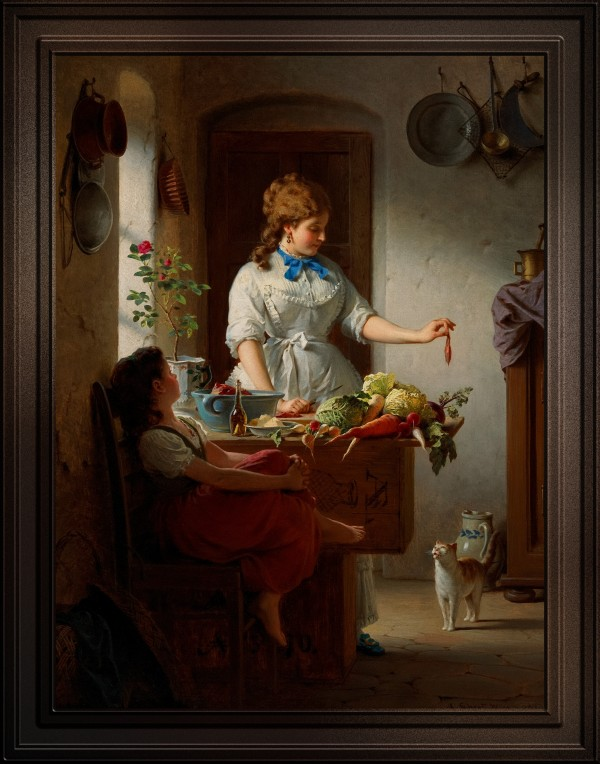A Kitchen Idyll by Anton Ebert Old Masters Classical Fine Art Reproduction by xzendor7