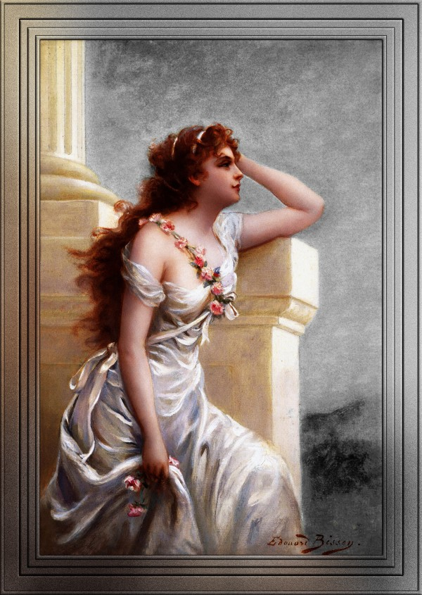 A Young Beauty With A Wreath Of Roses by Edouard Bisson GSBCKGND by xzendor7