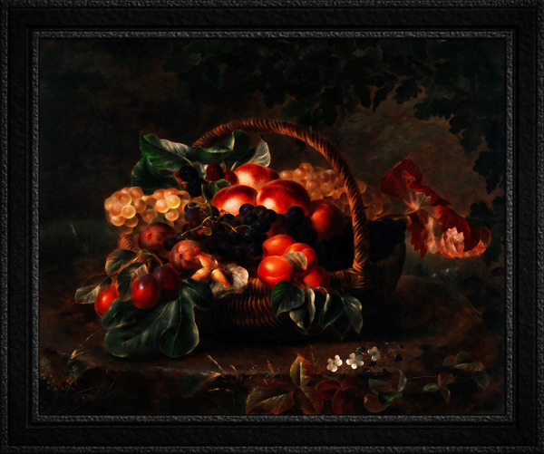 A Basket With Fruit by Johan Laurentz Jensen Classical Fine Art Xzendor7 Old Masters Reproductions by xzendor7