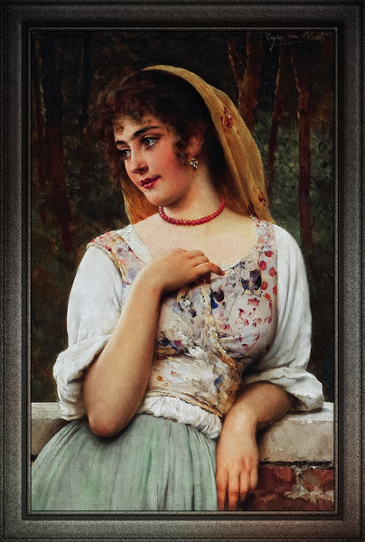 A Pensive Beauty by Eugen von Blaas Old Masters Classical Fine Art Reproduction by xzendor7