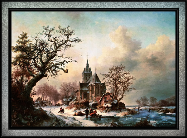Winter Landscape with Activities by a Village by Frederik Marinus Kruseman Old Masters Classical Fine Art Reproduction by xzendor7