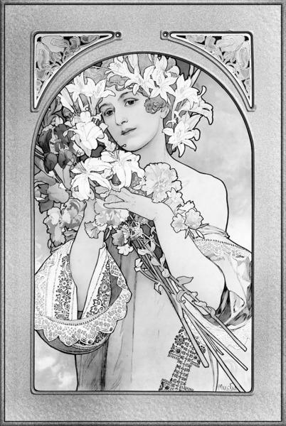 Flower by Alphonse Mucha Balck and White Art Nouveau Vingtage Art by xzendor7