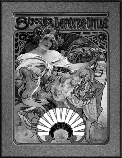 Alphonse Mucha Black and White Biscuits Lefevre-Utile Speckled Frame by xzendor7