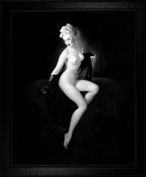 An American Beauty by Gil Elvgren Black and White Vintage Pin Up Girl Art by xzendor7