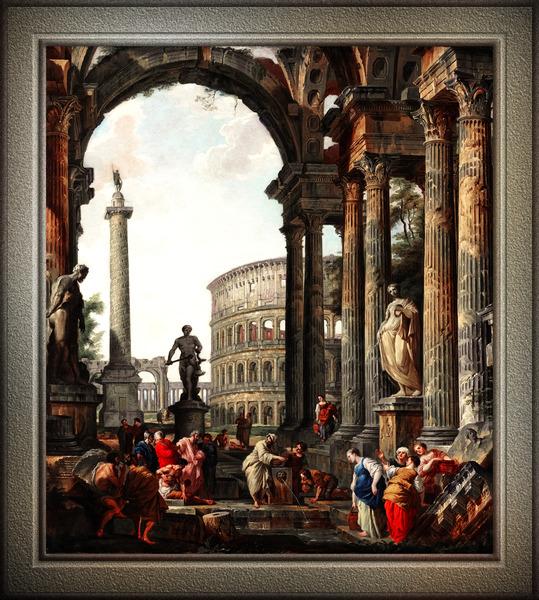 Architectural Roman Capriccio With Philosopher Diogenes by Giovanni Panini Classical Fine Art Xzendor7 Old Masters Reproductions by xzendor7