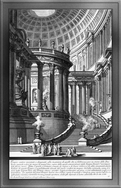 Antique Amtic Temple Engraving by Giovanni Battista Piranesi Classical Art Xzendor7 Old Masters Reproductions by xzendor7