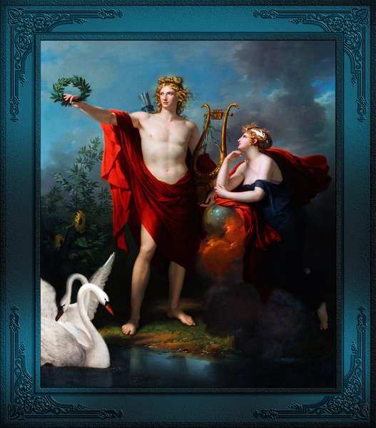 Apollo God of Light with Urania Muse of Astronomy by Charles Meynier Classical Fine Art Xzendor7 Old Masters Reproductions by xzendor7