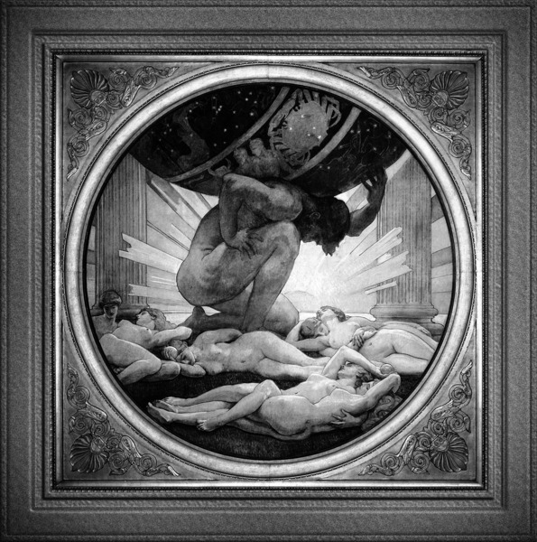 Atlas And The Hesperides by John Singer Sargent Black and White Xzendor7 Old Masters Art Reproduction by xzendor7