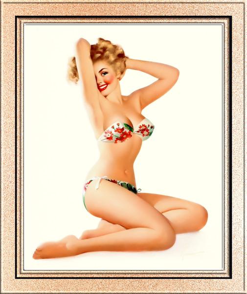 Bathing Suit Beauty by Edward Runci Pin-Up Girl Vintage Art by xzendor7