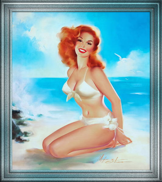 Beach Beauty by Edward Runci Pin-Up Girl Vintage Art by xzendor7