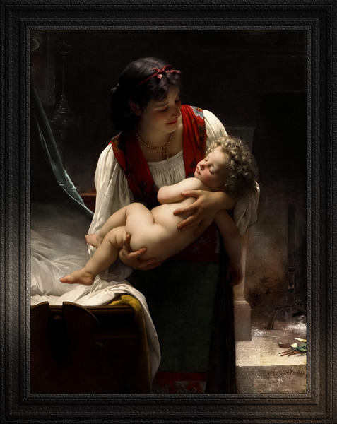 Berceuse - Le Coucher by William-Adolphe Bouguereau Classical Fine Art Xzendor7 Old Masters Reproductions by xzendor7