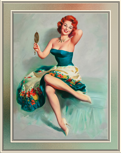Blossoming Beauty Pin-up by Bill Medcalf Vintage Pin-Up Girl Art by xzendor7
