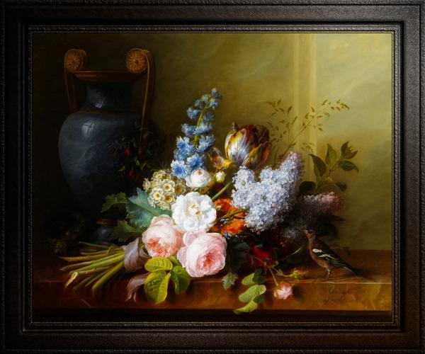 Bouquet De Fleurs Au Nid dOiseau by Cornelis van Spaendonck Classical Fine Art Xzendor7 Old Masters Reproductions by xzendor7