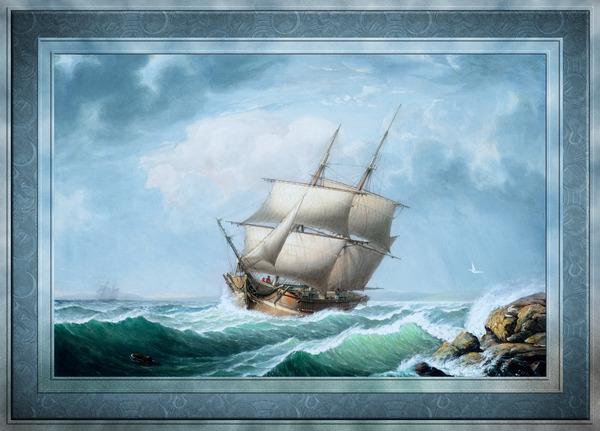 Brig Off the Maine Coast by Fitz Hugh Lane Classical Marine Fine Art Xzendor7 Old Masters Reproductions by xzendor7