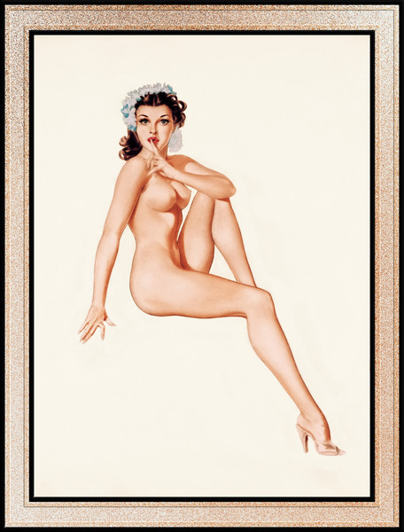 Brunette Pinup Girl With Blue Flowers On Her Head by Alberto Vargas Vintage Pin-Up Girl Art by xzendor7