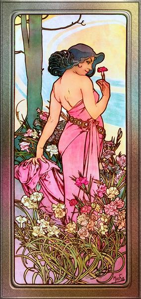 Carnation Art Nouveau Portrait by Alphonse Mucha Vintage Old Masters Art Nouveau Reproduction by xzendor7
