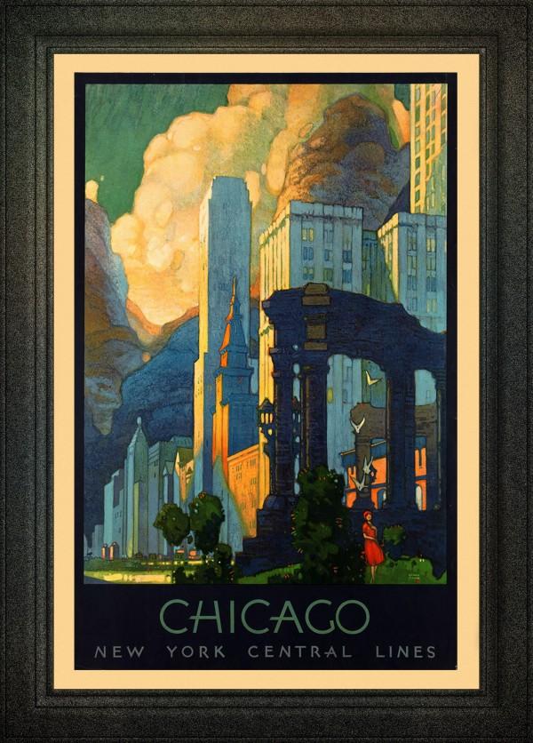 Art Deco Chicago Vintage Travel Poster by xzendor7