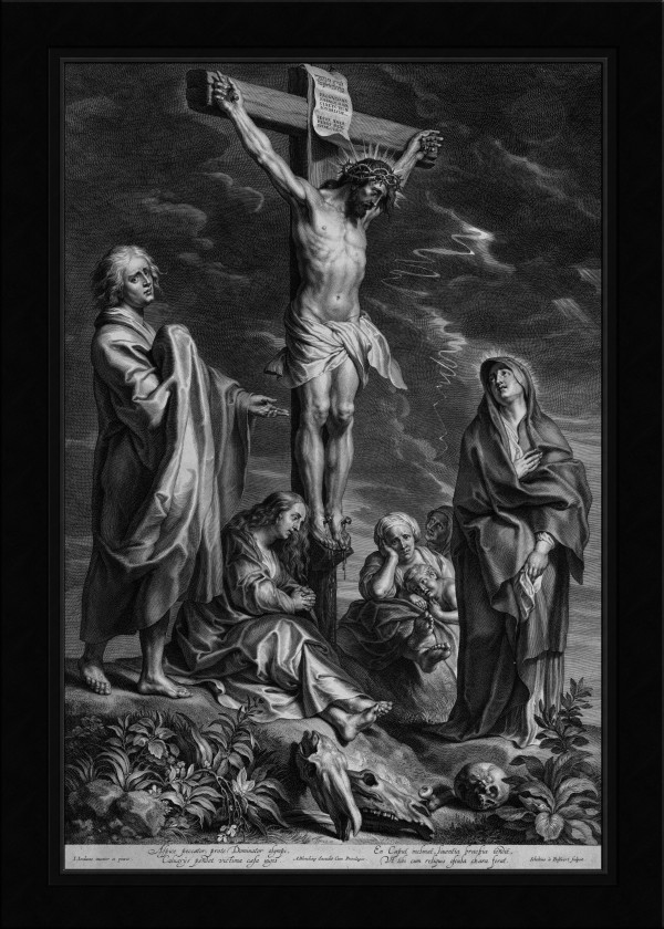 Christ on the Cross with Mary and Johannes by Engraver Schelte Adamsz Bolswert Old Masters Classical Fine Art Reproduction by xzendor7