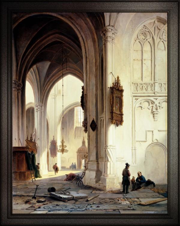 Church Interior by Bartholomeus van Hove Old Masters Reproduction by xzendor7