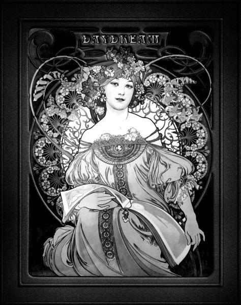 Daydream by Alphonse Mucha Black and White Xzendor7 Vintage Fine Art Reproduction by xzendor7